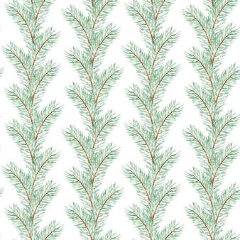 수채화 크리스마스 트리 분기 완벽 한 패턴입니다. 겨울 소나무 분기 배경입니다. 손으로 그린 식물 상록 분기 그림입니다. 새해 패턴.