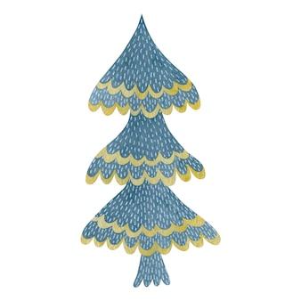 Акварель рождественская елка, изолированные на белом фоне