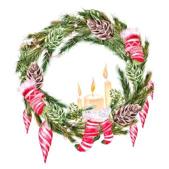 Акварель рождественская елка сосновые конфеты