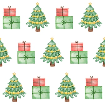 Watercolor christmas tree and presents seamless pattern