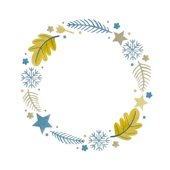 Watercolor christmas wreath new year happy holidays