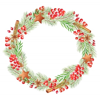 Watercolor christmas wreath with berries, fir branches, cinnamon sticks and gingerbread. festive round frame isolated on a white