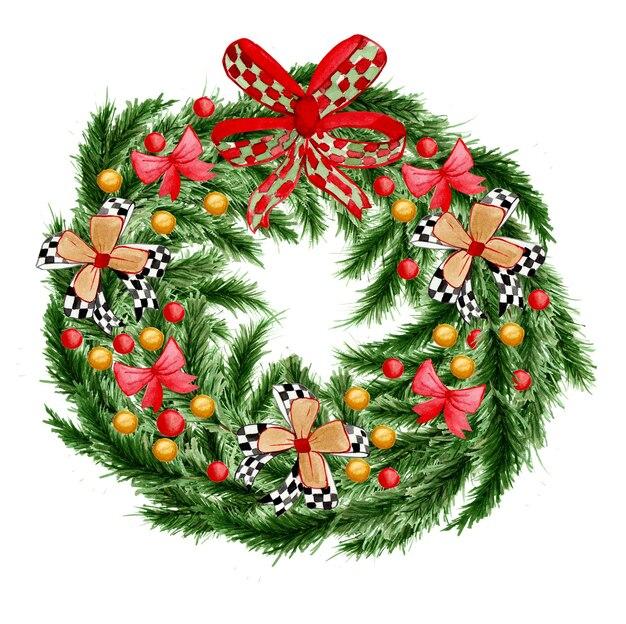 装飾が施された水彩画のクリスマスリース。