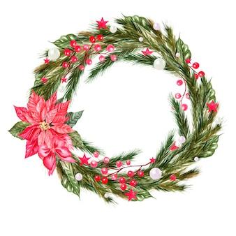 전나무 가지와 수채화 크리스마스 화환 i