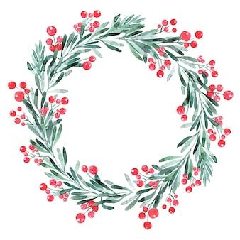 나무, 홀리와 포 인 세 티아와 수채화 크리스마스 화 환