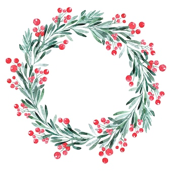 Watercolor christmas wreath with tree, holly and poinsettia