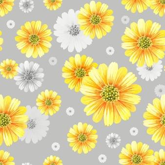 水彩菊。灰色の背景に黄色い花。