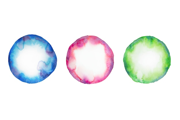 Watercolor circle in blue, green, bordeaux colors isolated