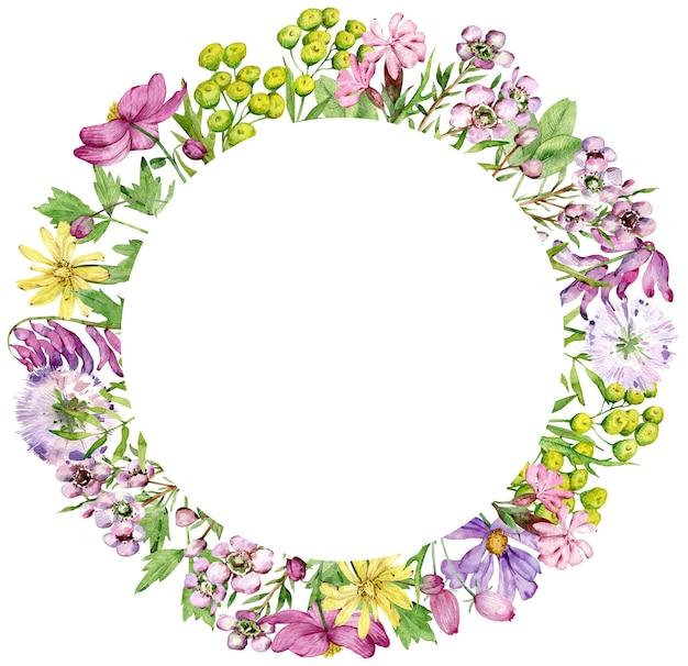 結婚式の招待状が白い背景で隔離の野生の花と水彩サークル フレーム