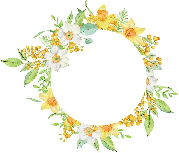 Watercolor circle frame with yellow daffodils and mimosa branches