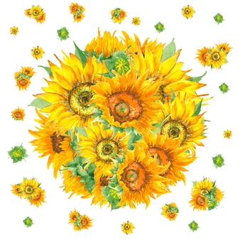 Watercolor circle sunflower