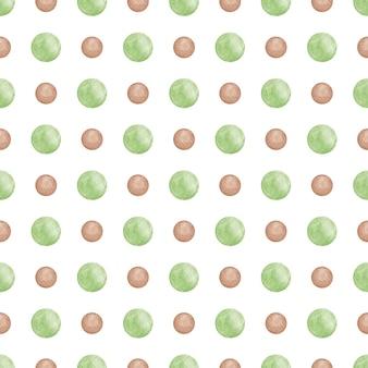 背景の緑のドットのシームレスなパターンの抽象的なスクラップブック紙を繰り返す水彩画の円