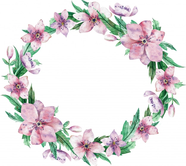 Watercolor circular pink floral wreath with flowers and central white copy space for text