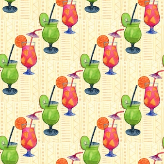 Watercolor cocktails seamless pattern.