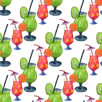 Watercolor cocktails seamless pattern
