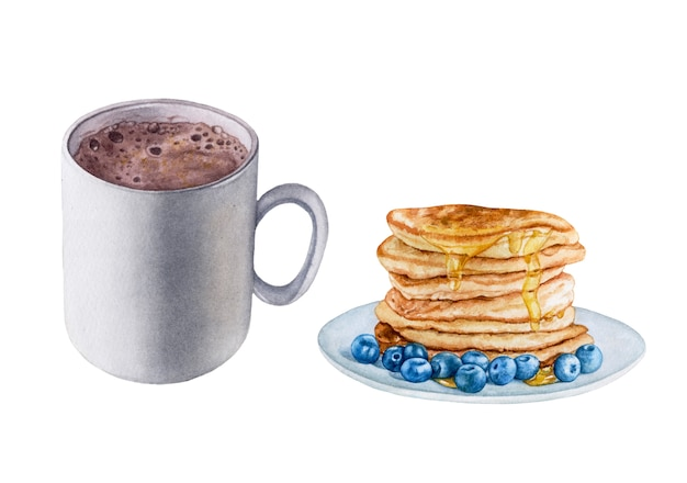 Watercolor cocoa drink, pancakes with honey and blueberries.
