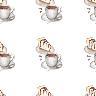 Watercolor coffee with cheesecake seamless pattern.