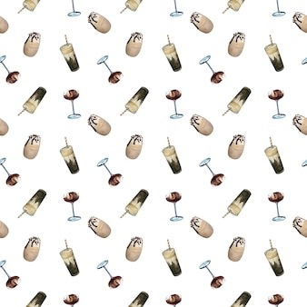 Watercolor cold coffee glasses seamless pattern