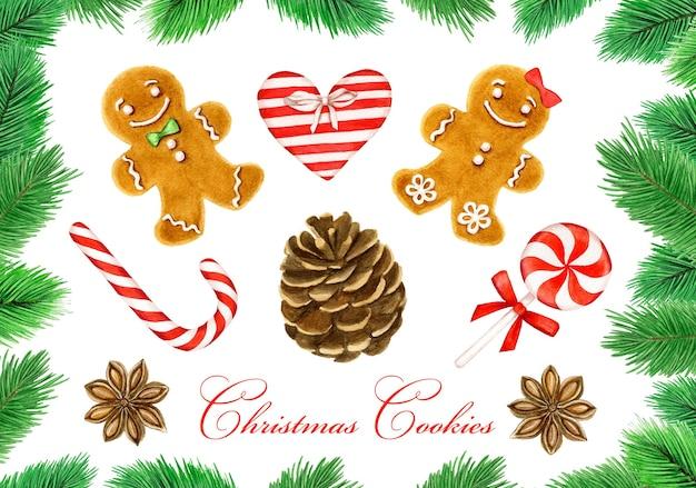 白のクリスマスの装飾の水彩画コレクション
