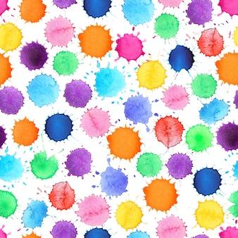 Watercolor colorful circle seamless pattern