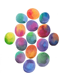 Watercolor colorful eggs abstract paintin