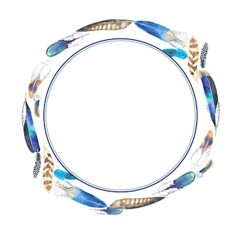 Watercolor colorful feathers round frame.