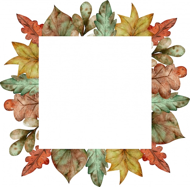 Watercolor colorful square frame of autumn leaves isolated on white background
