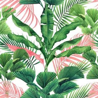Акварель красочные тропические листья бесшовный фон фон