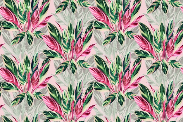 Watercolor colorful tropical leaves seamless pattern background.
