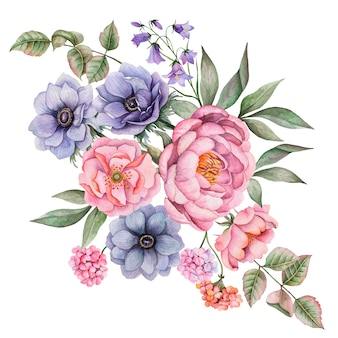 Watercolor composition of flowers. hand painted floral illustration isolated on white . bouquet with rose, anemones, peony, bluebells, geranium and leaves.
