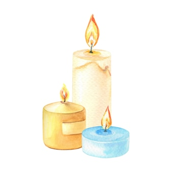 Акварельный состав свечей на белом фоне. акварель изолированный элемент.