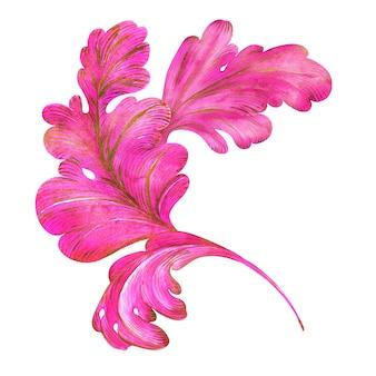 水彩画の構成ファンタジー植物のカールとピンクとゴールドの葉
