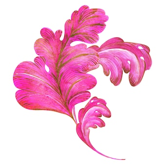 Watercolor composition pink and gold leaves with curls of a fantasy plant