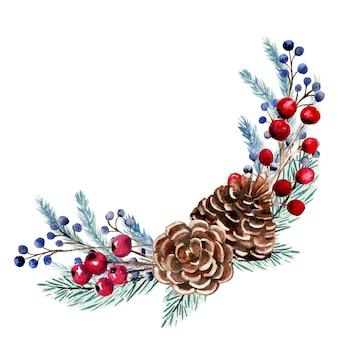 Акварельная композиция с ягодами, еловыми шишками, еловыми ветками.