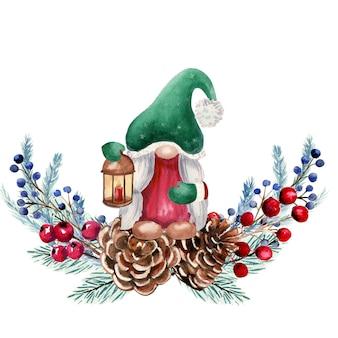 Акварельная композиция с рождественскими гномами, ягодами, еловыми шишками, еловыми ветками.