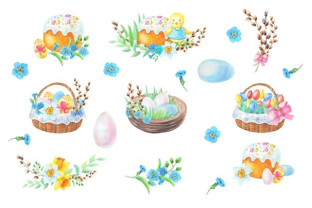 부활절 케이크와 수채화 구성