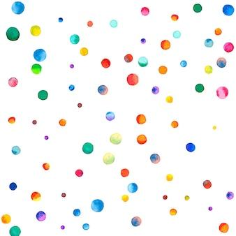 Акварельное конфетти на белом фоне. фактические точки цвета радуги. счастливый праздник квадратная красочная яркая карта. исключительное конфетти, расписанное вручную.