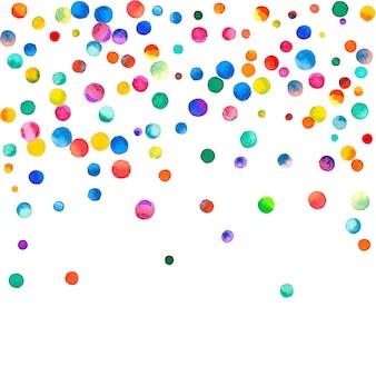 Акварельное конфетти на белом фоне. фактические точки цвета радуги. счастливый праздник квадратная красочная яркая карта. свежее конфетти ручной росписи.