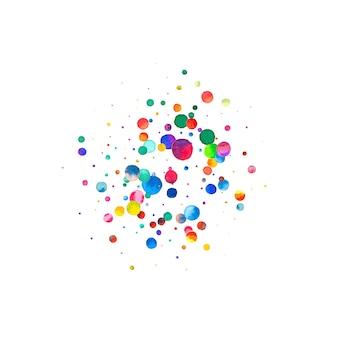 Акварельное конфетти на белом фоне. фактические точки цвета радуги. счастливый праздник квадратная красочная яркая карта. невероятное конфетти, расписанное вручную.