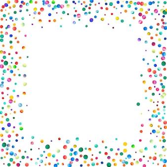 白い背景の上の水彩紙吹雪。実際の虹色のドット。幸せなお祝いの正方形のカラフルな明るいカード。強力な手描きの紙吹雪。