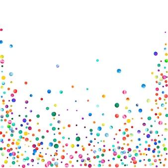 白い背景の上の水彩紙吹雪。実際の虹色のドット。幸せなお祝いの正方形のカラフルな明るいカード。珍しい手描きの紙吹雪。