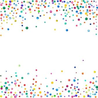 白い背景の上の水彩紙吹雪。実際の虹色のドット。幸せなお祝いの正方形のカラフルな明るいカード。見事な手描きの紙吹雪。