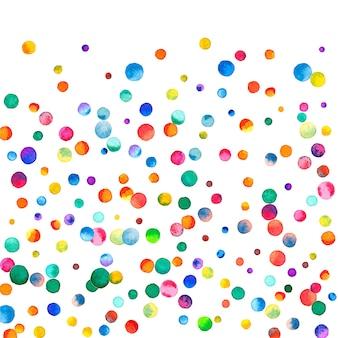 Акварельное конфетти на белом фоне. фактические точки цвета радуги. счастливый праздник квадратная красочная яркая карта. симметричное конфетти, расписанное вручную.