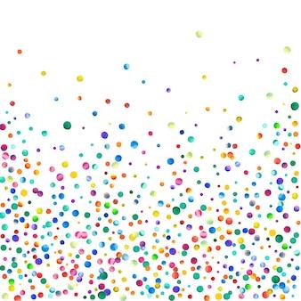 白い背景の水彩紙の紙吹雪見事な虹色のドット幸せなお祝いの正方形の色...