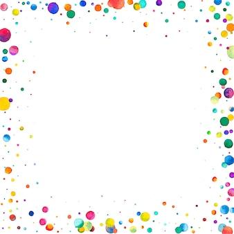 Акварель конфетти на белом фоне восхитительные радужные точки счастливого празднования площади коло ...
