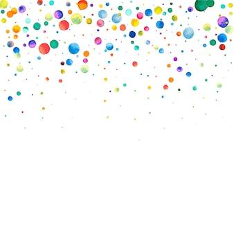 白い背景の上の水彩紙吹雪。見事な虹色のドット。幸せなお祝いの正方形のカラフルな明るいカード。魅力的な手描きの紙吹雪。