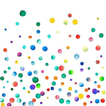 Акварельное конфетти на белом фоне. замечательные точки цвета радуги. счастливый праздник квадратная красочная яркая карта. причудливое конфетти ручной росписи.