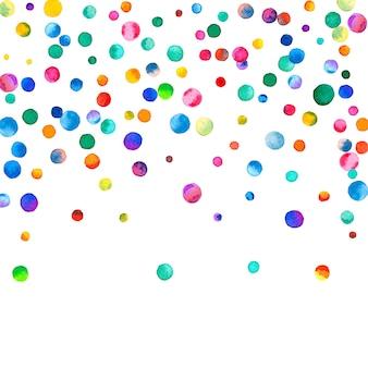 白い背景の上の水彩紙吹雪。見事な虹色のドット。幸せなお祝いの正方形のカラフルな明るいカード。繊細な手描きの紙吹雪。
