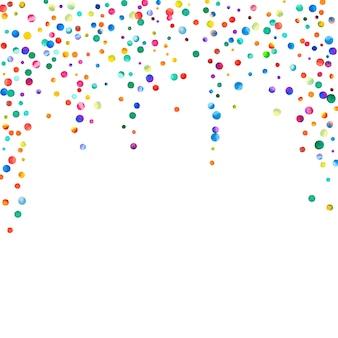 白い背景の上の水彩紙吹雪。見事な虹色のドット。幸せなお祝いの正方形のカラフルな明るいカード。エキゾチックな手描きの紙吹雪。