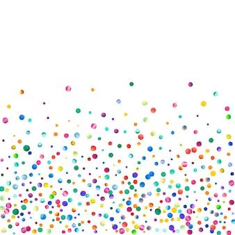 白い背景の上の水彩紙吹雪。見事な虹色のドット。幸せなお祝いの正方形のカラフルな明るいカード。現代の手描きの紙吹雪。
